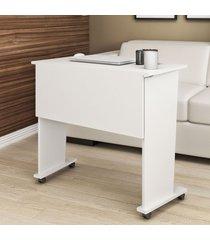 mesa escrivaninha dobrável com rodízio branco me4117 -tecno mobili