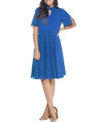 women's maggy london poppy crepe fit & flare dress, size 18 - blue