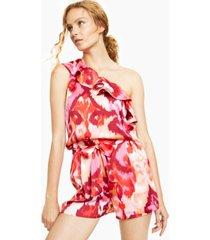 bar iii one-shoulder printed ruffled blouse, created for macy's