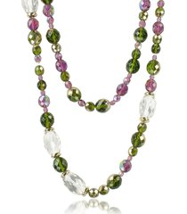 az collection designer necklaces, double beaded long chain necklace
