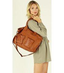 duża torba shopper bag z kieszeniami skóra