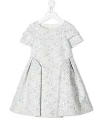 abel & lula pleated floral print dress - blue