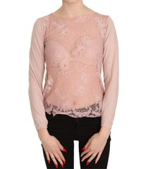 lace see through long sleeve top blouse