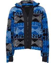 w original pile zip aw pattern sweat-shirt trui blauw peak performance