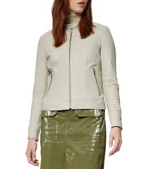 marc new york women's glenbrook feather-weight leather & knit panel moto jacket - light grey - size xs