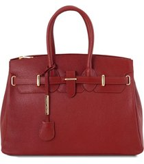 tuscany leather tl141529 tl bag - borsa a mano media con accessori oro rosso