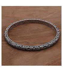 sterling silver bangle bracelet, 'temple' (indonesia)