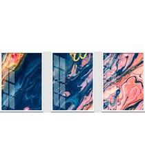 quadro 60x120cm abstrato ametista roxa moldura branca sem vidro decorativo interiores - kanui