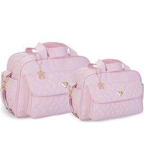 kit bolsas bebê maternidade rosa  amour 2 peças griff - tricae