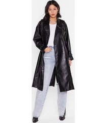 womens faux leather belted longline trench coat - black