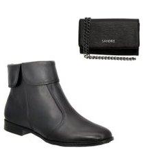 kit bota feminina em couro e bolsa clutch sandiee cano curto preto