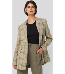 na-kd classic plaid double breasted oversized blazer - green