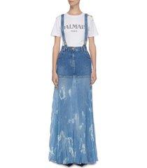panelled distressed pleated suspender denim skirt