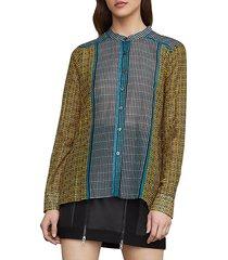 border weave tie-front shirt