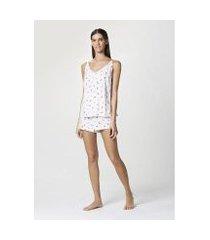 pijama hering curto com alças finas estampado feminino