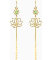 orecchini swarovski symbolic lotus, verde, placcato color oro