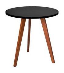 mesa lateral redonda alta tóquio ii preta e mel