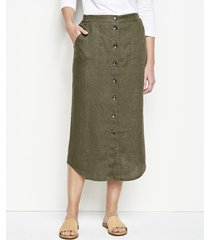 orvis performance linen button-front skirt, large