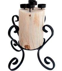 świecznik drewniany w metalowej oprawie tealighty