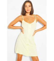 button through cami slip dress, yellow