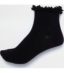 river island womens black frill cable knit socks