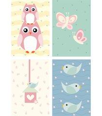 adesivo de parede arvore coruja baby e placas decorativas kit