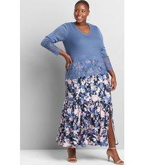 lane bryant women's pull-on crepe midi skirt with slit 26/28 blue emma floral