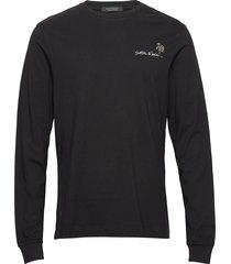 longsleeve crewneck tee with artworks t-shirts long-sleeved svart scotch & soda