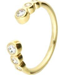 anello aperto placcato oro con zirconi per donna