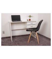 kit escrivaninha com gaveteiro branca + 01 cadeira eiffel botonê - preta