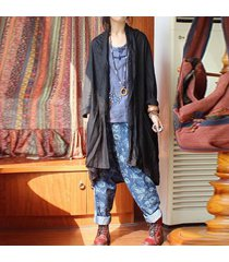 zanzea algodón de lino asimétrica capa de las mujeres de manga larga hem bolsillos largo cardigan negro -negro