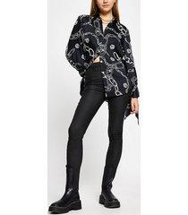 river island womens black long sleeve chain print shirt