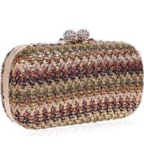 bolsa clutch liage festa pedra cristal strass detalhe tricot metalizado alça removivel metal dourada nude marrom