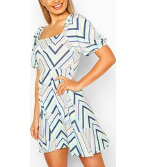 geo print square neck skater dress, mint