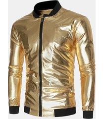 giacca da uomo alla moda con colletto alla moda, manica lunga, jacquard brillante sottile