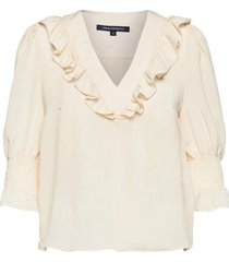 crepe light ruffle blouse blus långärmad creme french connection
