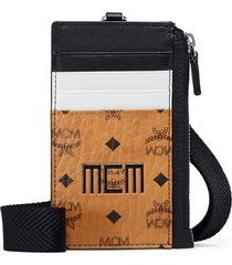 men's mcm visetos print colorblock card case - brown