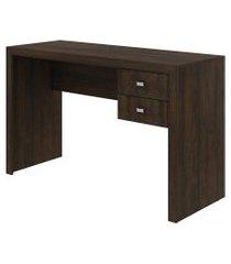 mesa p/ escritório 2 gavetas rustico tecno mobili marrom