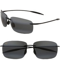 maui jim 'breakwall - polarizedplus(r)2' 63mm sunglasses in black gloss at nordstrom