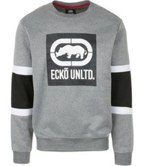 ecko unltd men's 3 color stripe crewneck fleece sweatshirt
