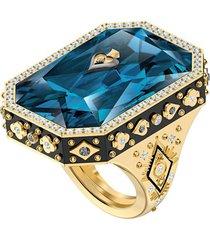 anillo de cóctel tarot magic, azul, baño en tono oro