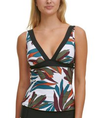 dkny leaf-printed tankini top women's swimsuit