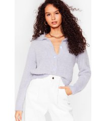 womens the soft parade fluffy knit button-down cardigan - blue