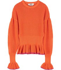 msgm cotton-blend open-knit pullover