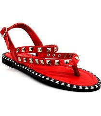 sandalia roja leblu tachas