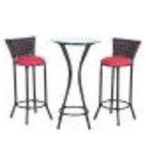 conjunto bistrô mesa alta e 2 banquetas moscou pedra ferro a16 para cozinha edicula bar varanda