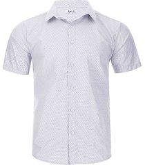 camisa m/c puntos color blanco, talla s