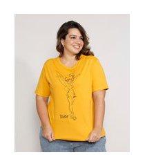 camiseta feminina plus size sininho manga curta decote redondo mostarda