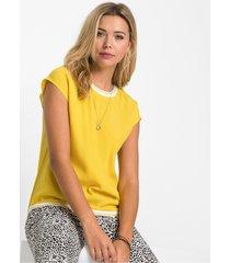 blouseshirt met contrasterende boorden