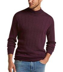 joseph abboud heathered wine 37.5® modern fit mock neck sweater